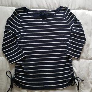Chaps Women's Navy Blue Striped Shirt Petite Lg